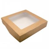 Коробка для салата с окном 200*200*40 (Крафт)\50