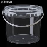 Ведро 3 л прозрачное пищевое круглое с крышкой