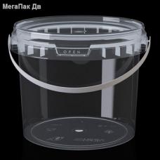 Ведро 2,3 л прозрачное пищевое круглое с крышкой