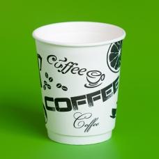 Стакан бумажный 250мл для горячих напитков с рисунком TEA, COFFEE(50шт/уп)