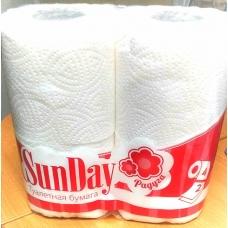 """Туалетная бумага """"SUNDAY"""" 2сл. 4шт/12шт/уп."""