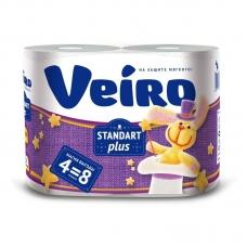 Туалетная бумага VEIRO STANDART (4 шт) /15шт/уп